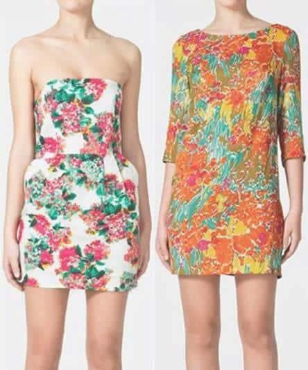 Zara nos trae los vestidos cortos con motivos florales
